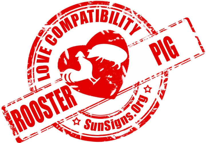 Chinese Rooster Pig Compatibility. The rooster and pig in love will need to develop understanding on both sides in order to have a happy relationship.