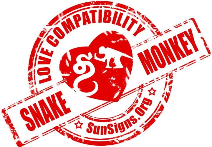 Chinese Snake Monkey Compatibility. Chinese astrology compatibility predicts that a Snake and Monkey relationship will be opposite with nothing in common.