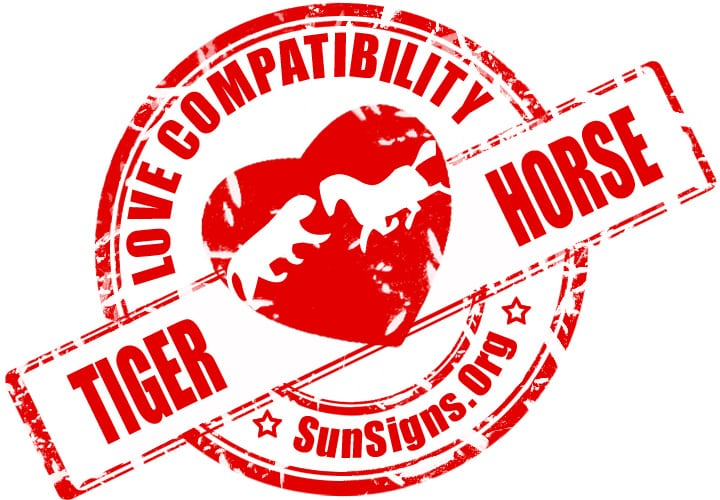 The two Chinese zodiac signs of the tiger and the horse in love make a good couple because of their similar personalities