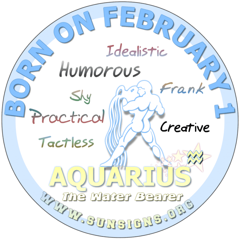 If you are born on February 1st, you are a source of strength for your loved ones and associates. This sensible Aquarius birthday could profit from a career in sales and marketing. You like being the center of attention or the leader of the group. Sometimes you expect too much from others.
