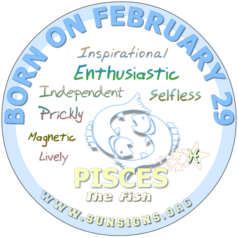 IF YOUR BIRTH DATE IS FEBRUARY 29th, you have compassion for people, which makes you exceptionally inspirational. Sometimes, you can be feisty nor do you like commitments. According to your birthdate astrology analysis, you are likely to make friends with ease but have an idealistic view of romance.