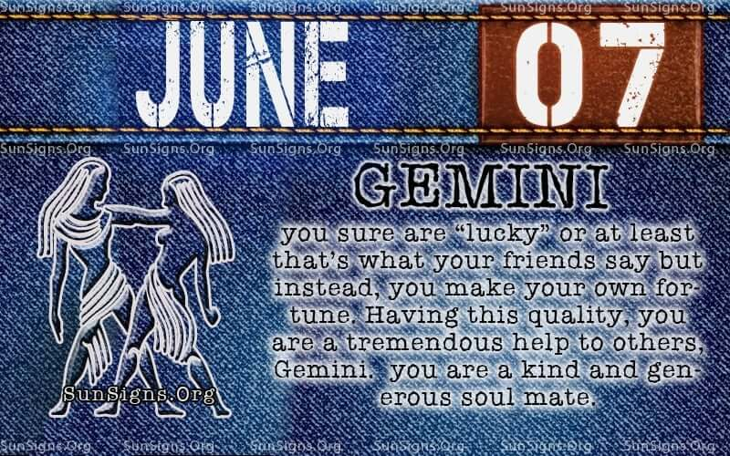 June 7 Zodiac Horoscope Birthday Personality