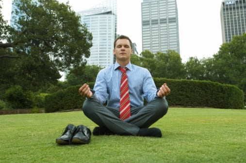 Go to a nearby park and sit on the grass with your legs crossed too meditate