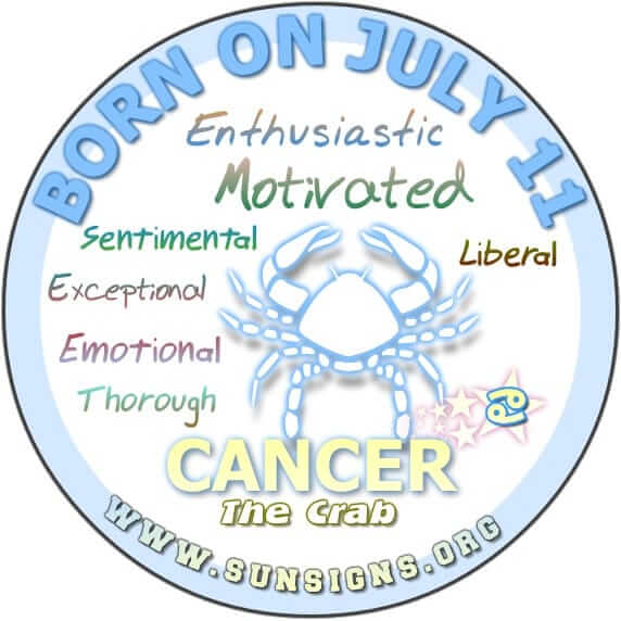 As the zodiac sign for birthday 11 July is Cancer, you typically go beyond the expectations of others.