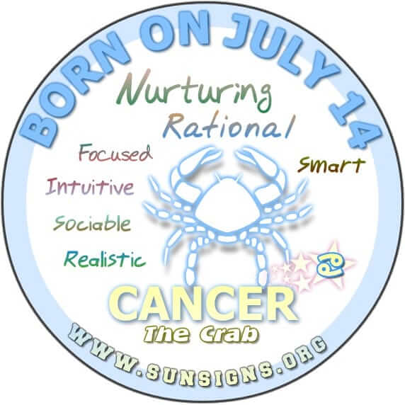 IF YOUR BIRTH DATE IS JULY 14, then your zodiac sign is Cancer and you are sociable people.