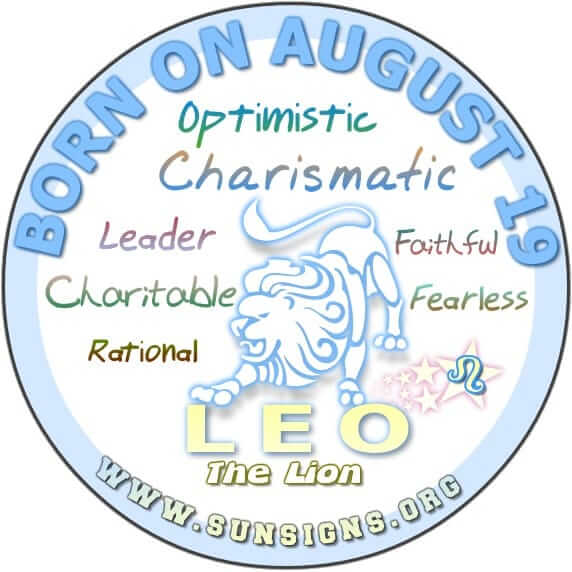The 19 August zodiac sign is Leo.
