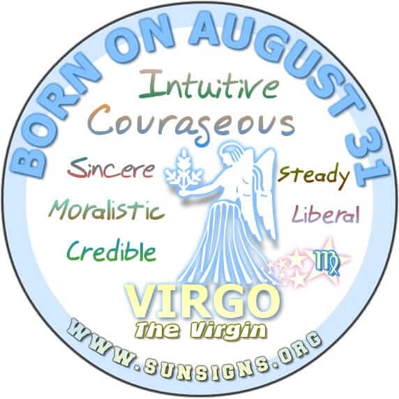 IF YOUR BIRTHDATE IS AUGUST 31, you are a strong Virgo.