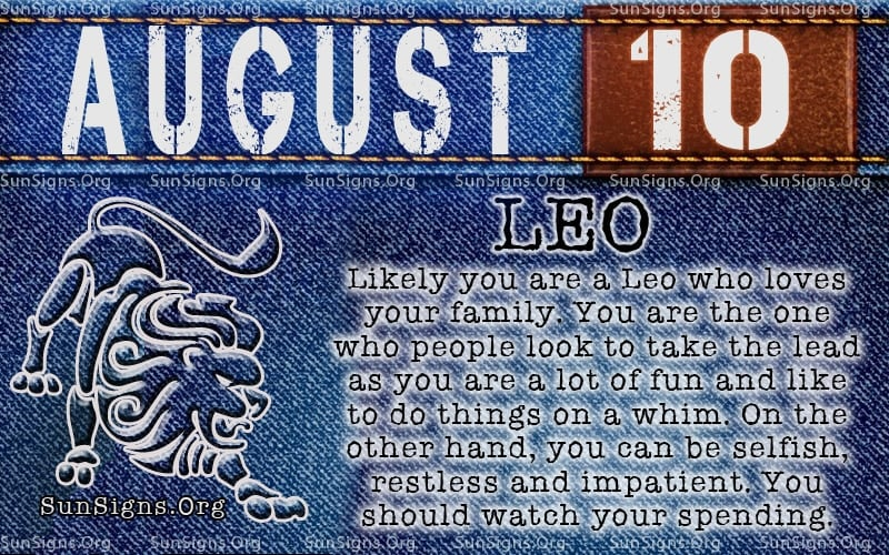 august 10 leo birthday calendar