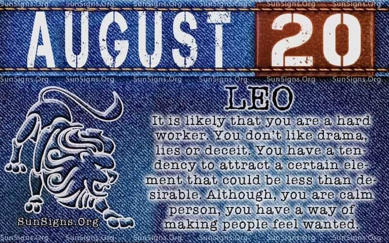 august 20 leo birthday calendar