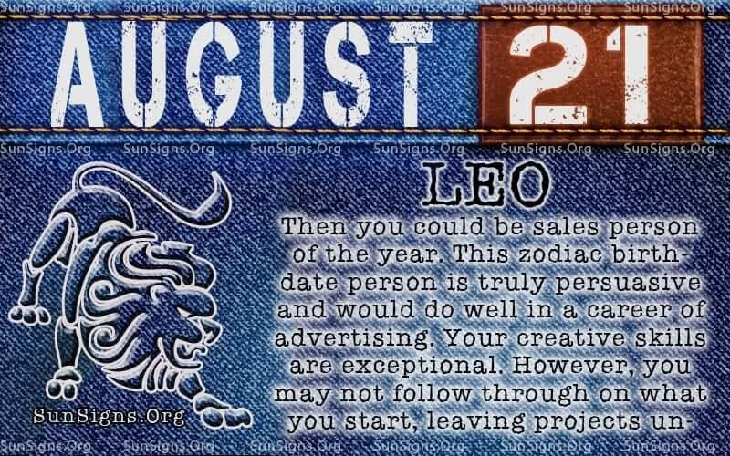 august 21 leo birthday calendar