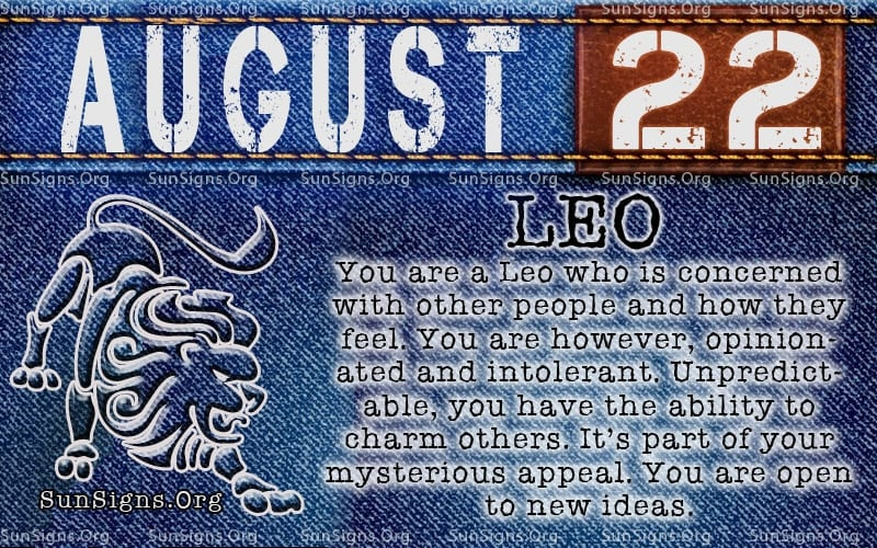august 22 leo birthday calendar