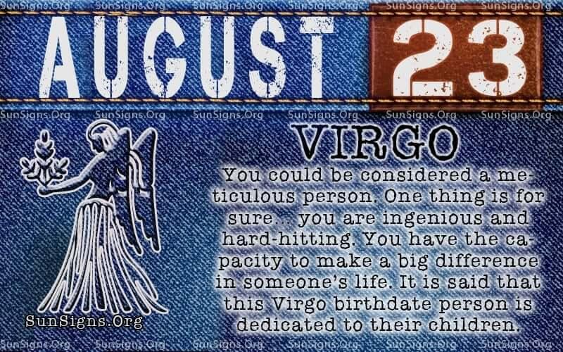 august 23 Virgo birthday calendar