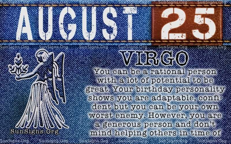 august 25 virgo birthday calendar