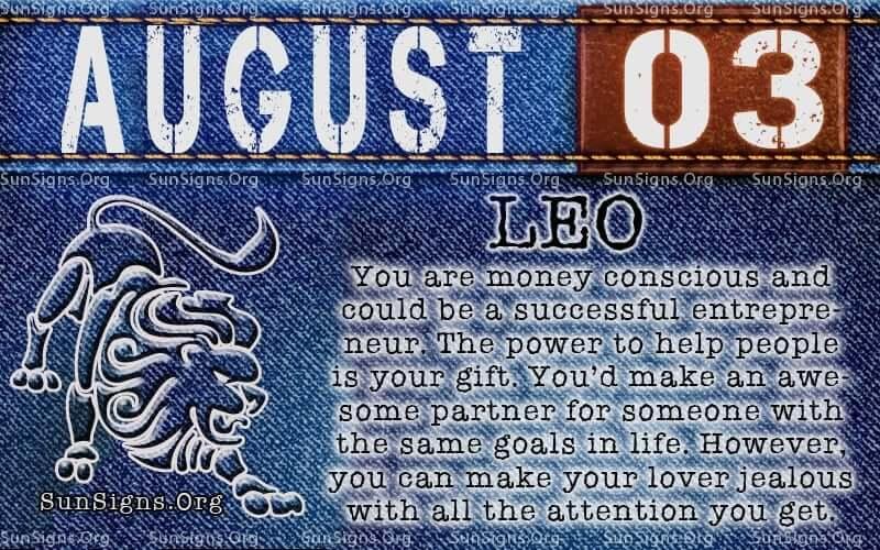 august 3 leo birthday calendar