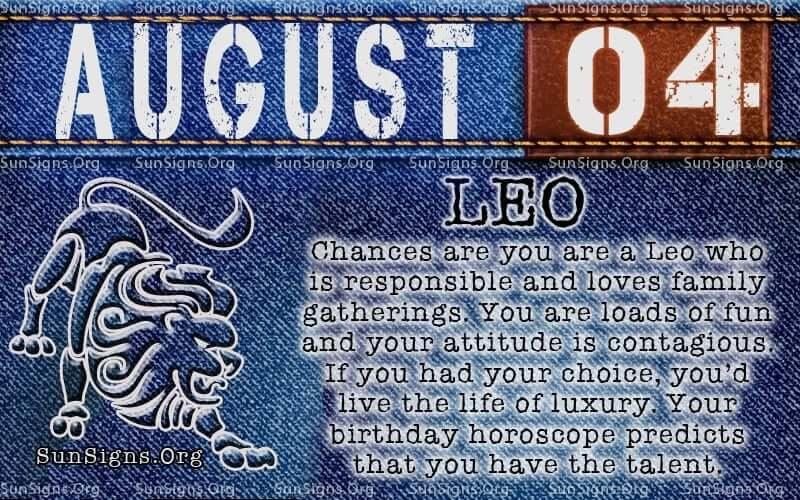 august 4 leo birthday calendar