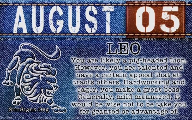 august 5 leo birthday calendar