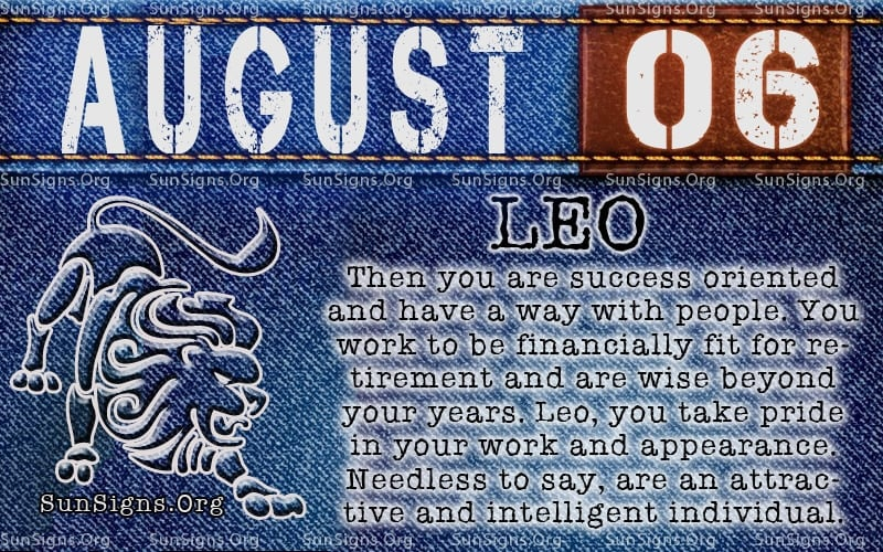 august 6 leo birthday calendar