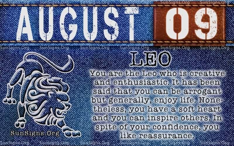 august 9 leo birthday calendar