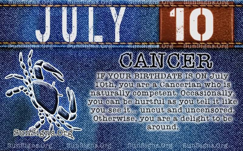 july 10 cancer birthday calendar