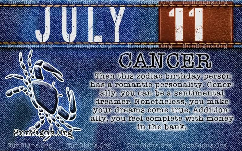 july 11 cancer birthday calendar