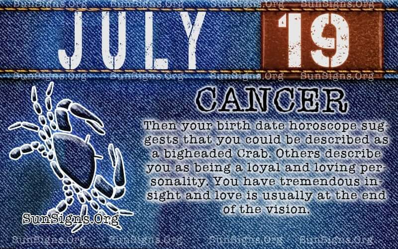 july 19 cancer birthday calendar