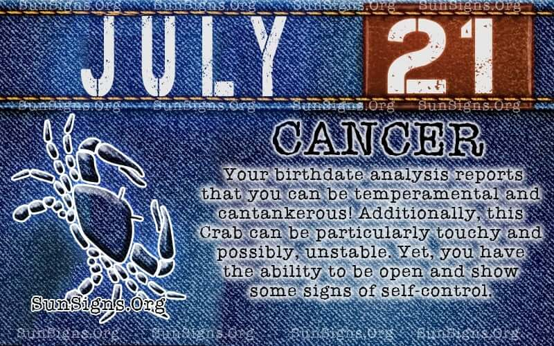 july 21 cancer birthday calendar