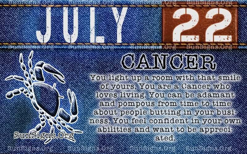 july 22 cancer birthday calendar