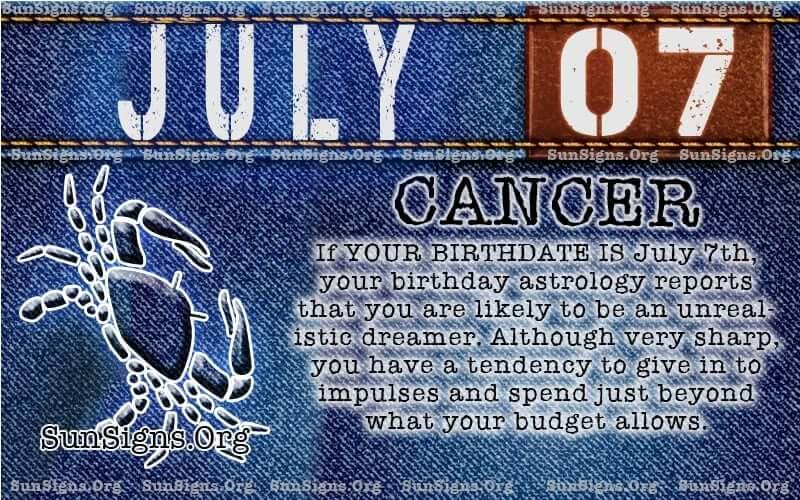 july 7 cancer birthday calendar