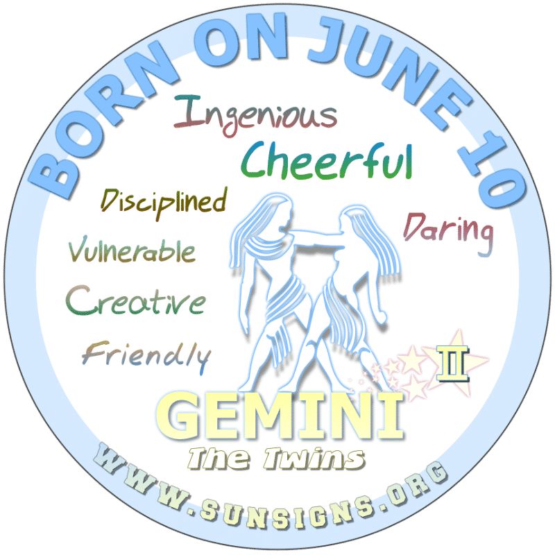 If you were BORN ON THIS DAY, June 10th, your birthday meaning says that you possess a natural ability to express yourself, as you are the friendly and practical person. Additionally, you have the potential to be successful, Gemini. You love making your fantasies come true. You have a natural gusto for life.