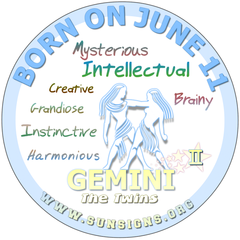 If your BIRTHDAY IS ON June 11th, this birth date personality appreciates art, nature and is turned off by strife. You are a Gemini that treasures family traditions and other people's feelings. However, the 11 June birth day astrology analysis predicts that you may unintentionally bring in negative forces.