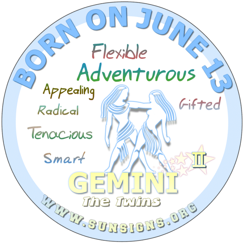 If your BIRTHDATE IS ON June 13th, as a weakness, you could be self-centered. You may have a radical attitude toward certain things. Gemini may have ideas that go beyond most people's comprehension. Perhaps parenting should be left up to someone else.