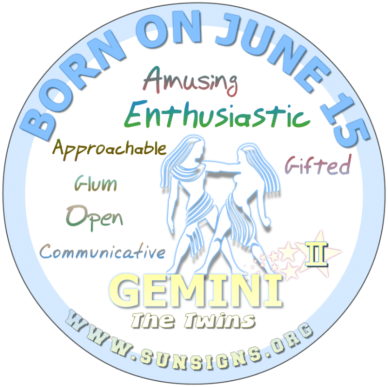 If your BIRTHDAY IS ON THIS DAY, June 15th, you can be understanding. You are a positive individualist. The perfect partnerships endorses this zodiac birthdate Gemini's need for freedom. You take pride in your work. You set standards that are inclined to keep you looking and feeling good.