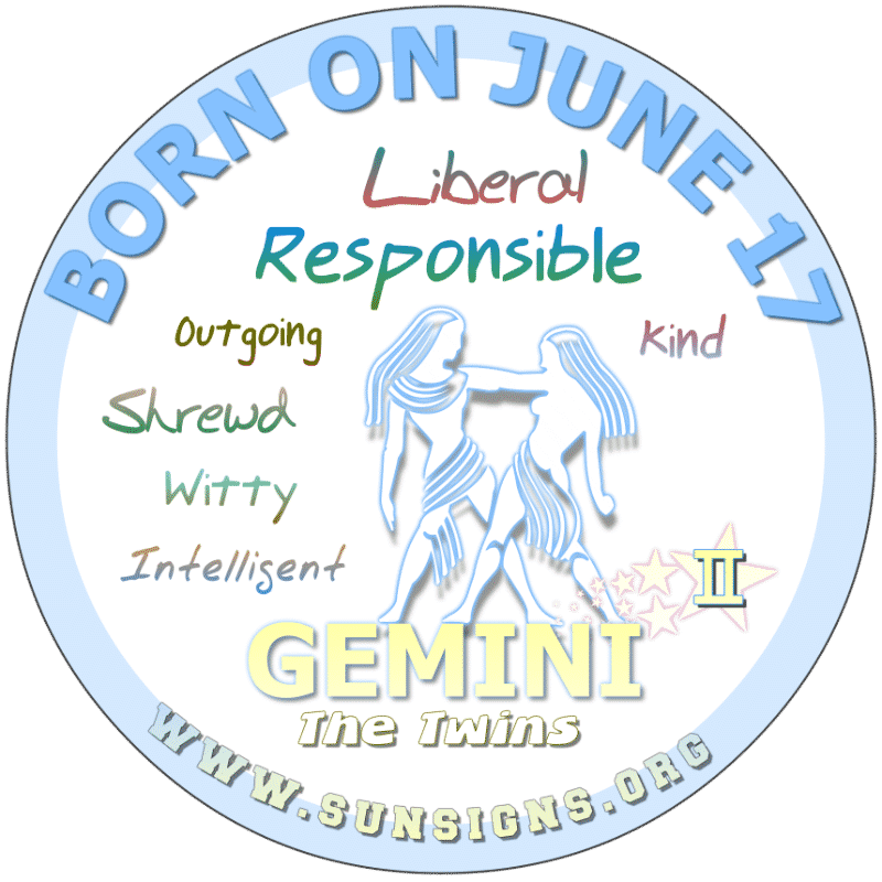 If you were BORN ON THIS DAY, June 17th, you have this dry wit about you that keeps people coming back for more. As a Gemini birthday, you believe that life should be full of pleasant surprises. You can be kind and compassionate. Alternatively, you have a creative side