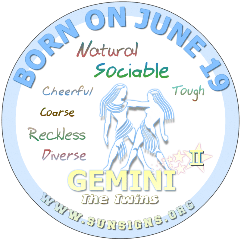 If YOUR BORN ON June 19th, you will happily make sacrifices to keep the peace in a relationship however, you can be contrary to what is considered to be normal. As per your birth day horoscope, most Gemini's are likely to socialize with like-minded entrepreneurs but need a personal accountant.