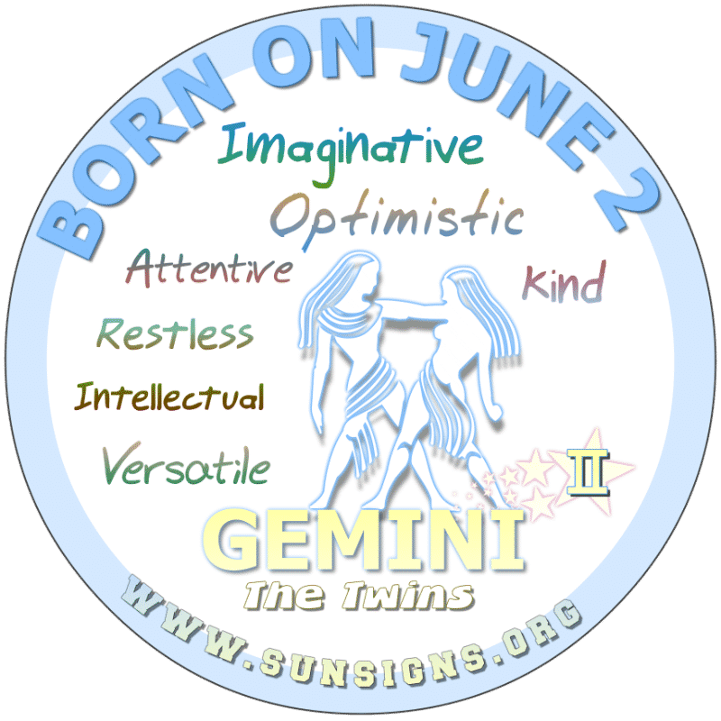If your BIRTHDATE IS ON THIS DAY, June 2nd, your birthday meanings report that you can be a serious, practical but imaginative Gemini. Your kindness is hard to find. You are selective when it comes to trusting another with your heart. Take extra care of yourself.