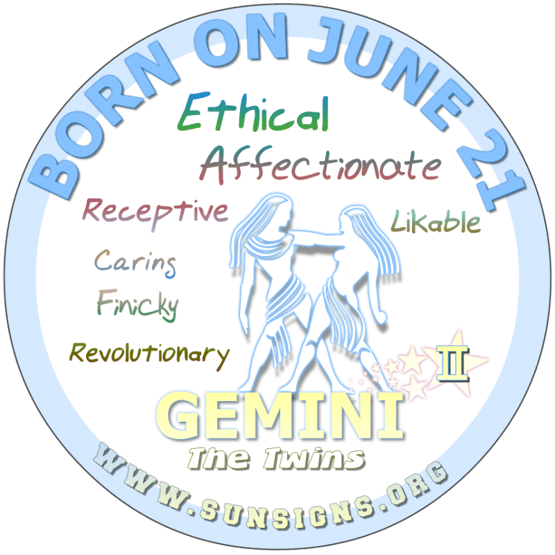 If you were BORN ON THIS DAY, June 21st, being an open-minded Gemini, you are curious about traditions. This quality pairs you nicely with other cultures that ambitious and insightful. It is definitely one of your strong birthday personality traits. You hope to keep a balance in your life.