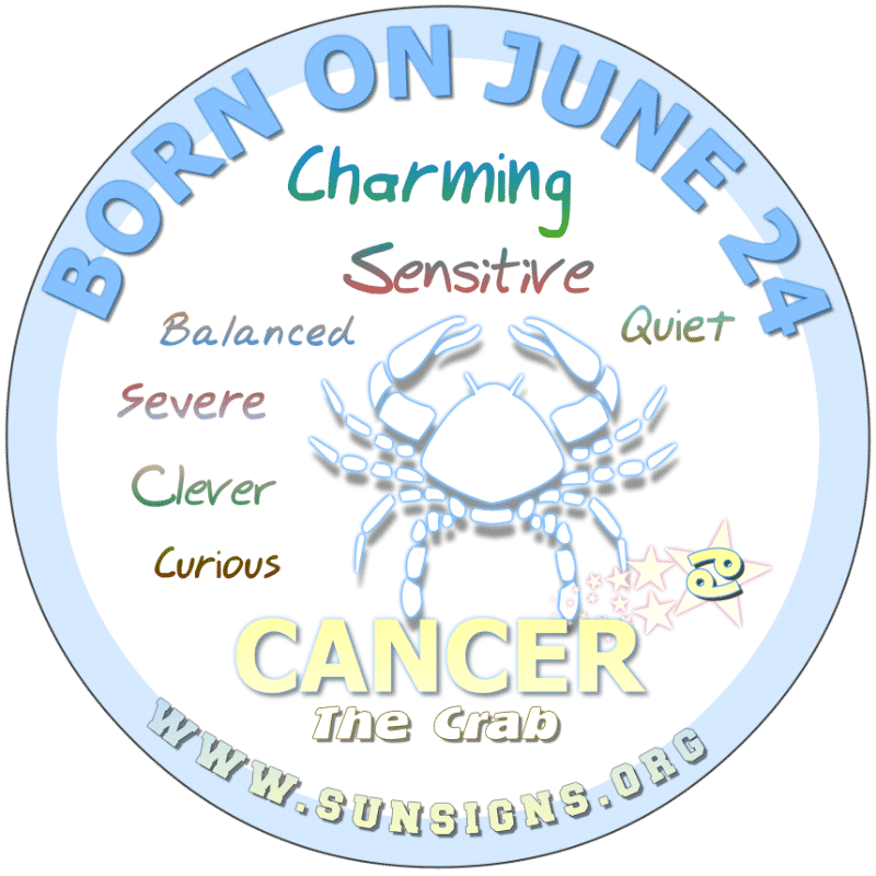 If you were BORN ON THIS DAY, June 24th, you do not like change. Nevertheless, can be a curious individual who is intelligent and artistic. Mostly, you possess an ambitious nature that focuses on winning. However, Cancer ,you may go over your budget forecasts the birthdate analysis for 24 June.