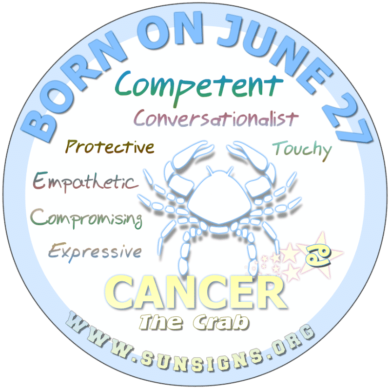 If YOUR BIRTHDAY IS ON June 27th, you are very helpful and protective Cancer sun sign, although you wear your heart on your sleeve. Your friends and family are important to you. As a dreamer, you have a tendency to wish for security and love tells your birthdate meanings.