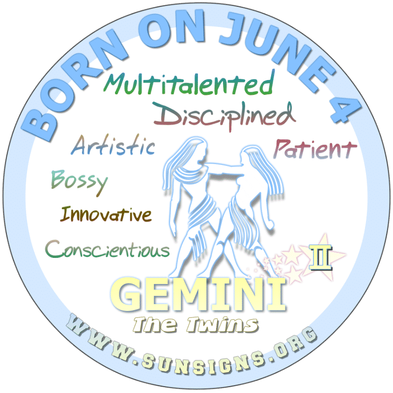 If you were BORN ON THIS DAY, June 4th, you can be a ray of sunshine and it is likely that you will have an impact on how other folks feel. A Gemini will likely have excellent communication skills. You can be geeky or artistic. You may have had more lovers than expected.