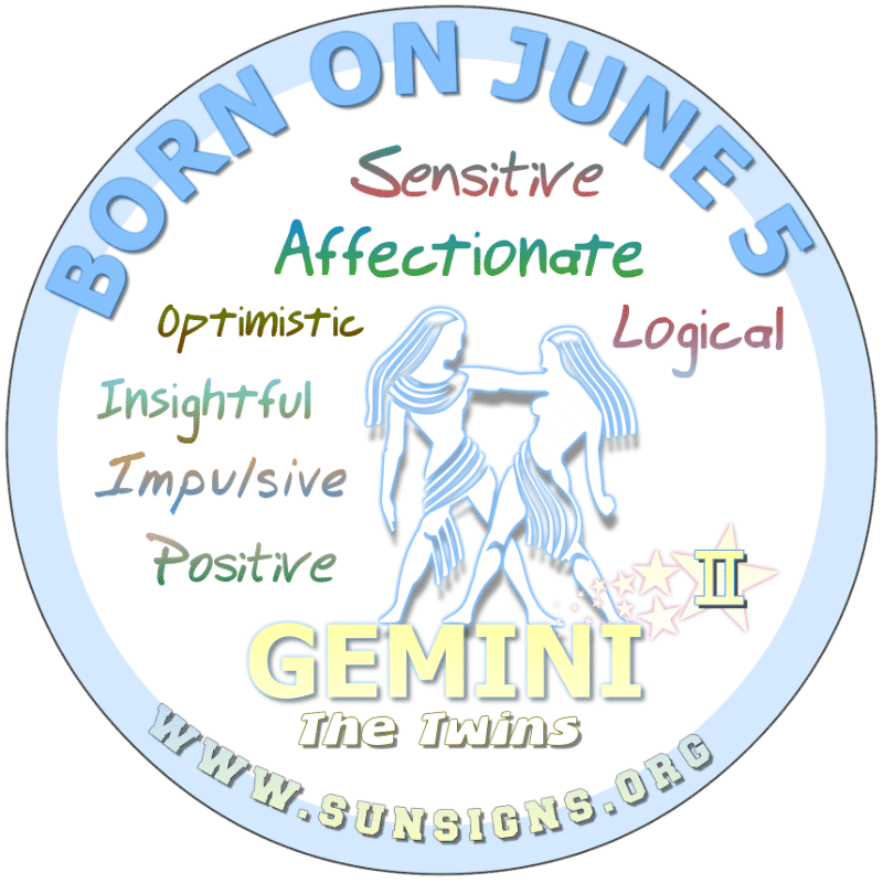 If you are a GEMINI BORN ON THIS DAY, June 5th, you can be a critical thinker who is flexible and smart. You can be a friendly, fun-loving and easy-going Gemini. The 5th June birthday astrology says you can be argumentative and authoritative.