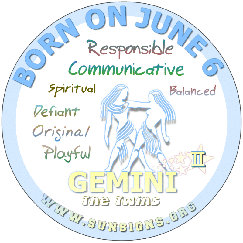 If you are a GEMINI BIRTH DAY, June 6th, you can possibly change someone's mind or to sell them something. Perhaps you would do well in public speaking or marketing. You do you make a great sum of money but you plan and budget your money.