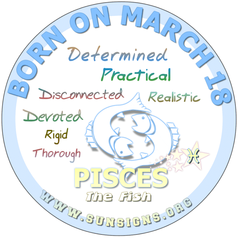 IF YOUR BIRTH DAY IS March 18, you can be highly sexually motivated. This could be a problem in most of your relationships. Those born on this day are Pisces that are competitive and have a practical approach to life and retirement. You want someone special to share your life with.