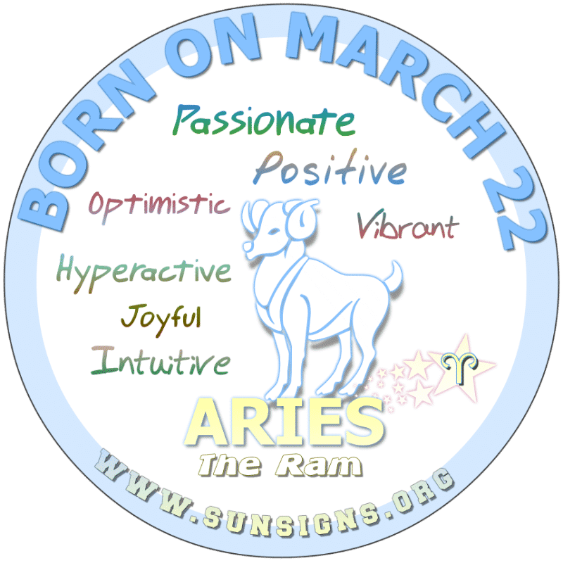 IF YOU ARE BORN ON March 22, you like to have fun. You can never go anywhere without meeting someone you know. Your astrology birthdate meanings predict that you naturally bring out the best in people. Alternatively, Aries, you cannot take orders but will make an awesome leader.