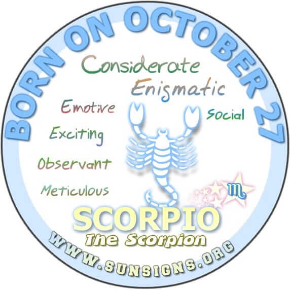 IF YOUR BIRTHDATE IS OCTOBER 27, you could be someone who is enigmatic.