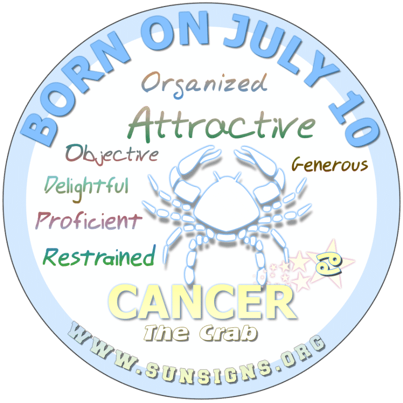 IF YOUR BIRTHDATE IS ON July 10th, you are a Cancerian who is naturally competent. Occasionally, you can be hurtful as you tell it like you see it… uncut and uncensored. Otherwise, you are a delight to be around.