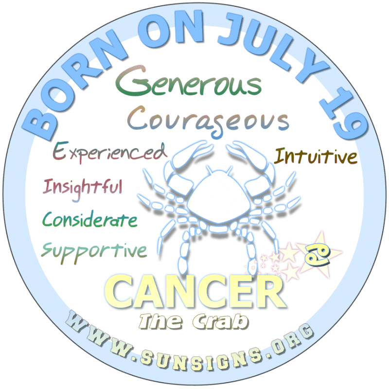 If your BIRTHDATE IS ON July 19th, then your birth date horoscope suggests that you could be described as a bigheaded Crab. Others describe you as being a loyal and loving personality. You have tremendous insight and love is usually at the end of the vision.