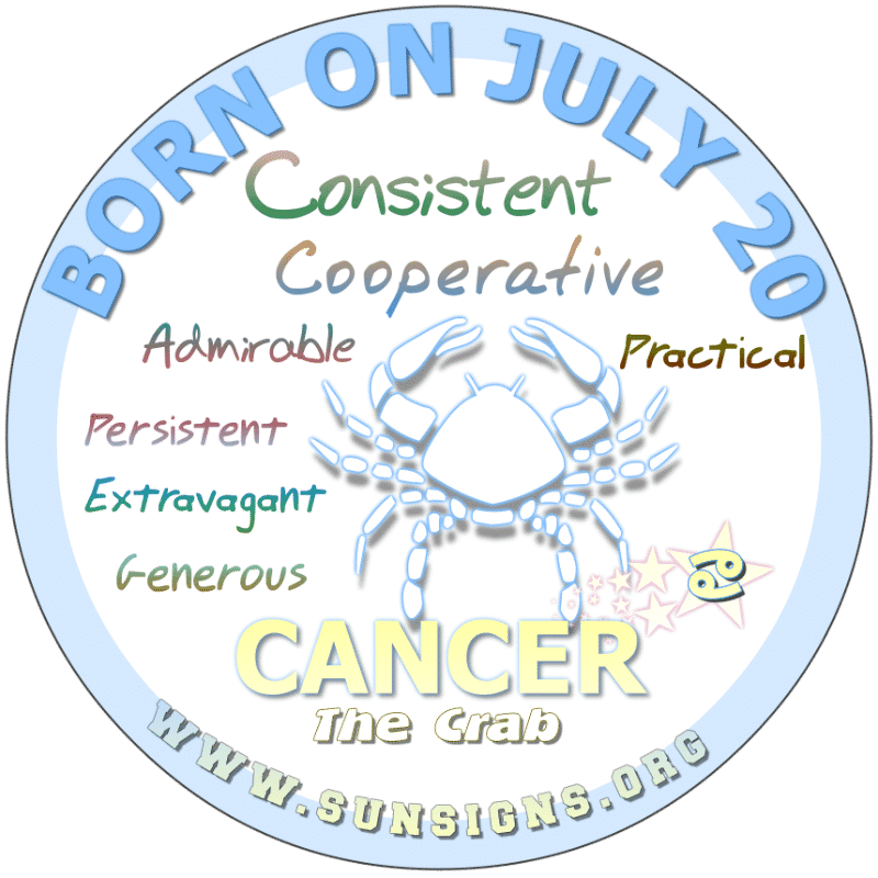 If you are BORN ON July 20th, then you are a Cancer zodiac person who would prefer a professional and stimulating position. As a stimulus, you look for personal gratification rather than salary in a career. Above all, you want privacy and respect.