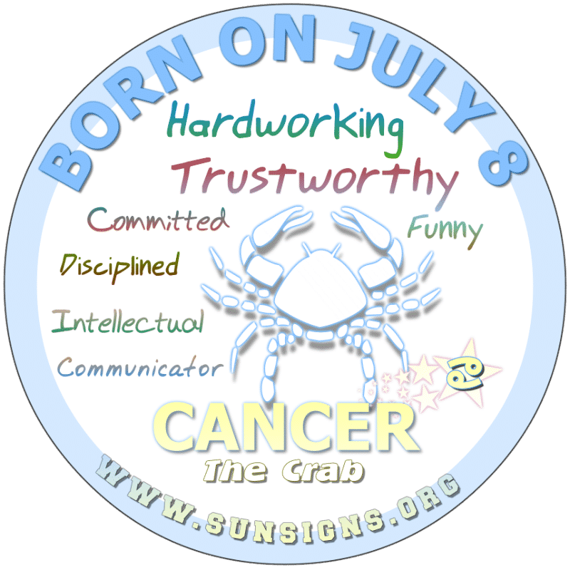 If you are BORN ON July 8th, you are health conscious. As a hard worker, you are likely to talk while you work. Additionally, this Crab has a humorous side that can be either harsh or gentle.