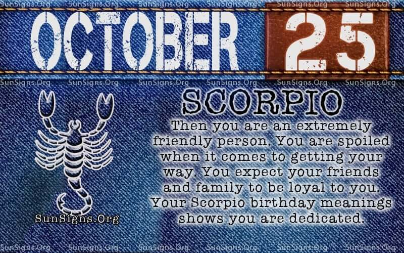 october 25 Scorpio birthday calendar