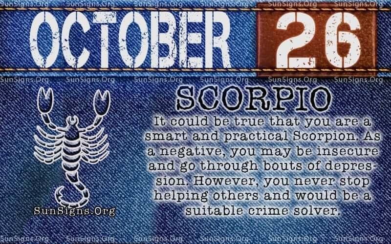 october 26 Scorpio birthday calendar